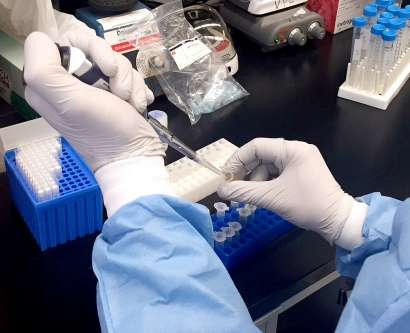A Zika virus researcher  pipets samples