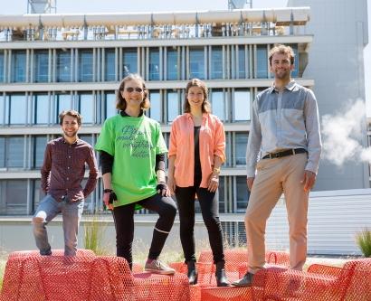 Royce Harner, Annemarie Donjacour, Alanya Den Boer and Alex Schrobenhauser-Clonan stand together at UCSF's Regeneration Medicine Building.