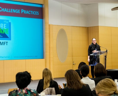 Denise Caramagno speaks at the San Francisco Department on the Status of Women's 2017 Gender Equality Challenge Forum.