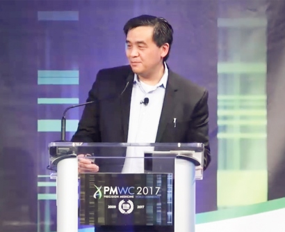 Charles Chiu speaks at the Precision Medicine World Conference in January 2017