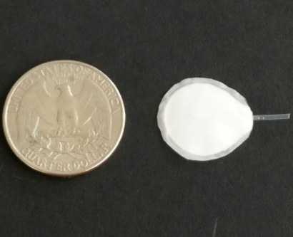 The cell encapsulation device is shown to be slightly smaller than a quarter that it is sitting next to