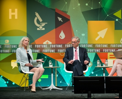 Diane Havlir, Larry Corey, and Siobhan O'Connor on stage at Fortune's Brainstorm Health Conference