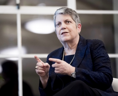 Janet Napolitano speaks during the UCSF School of Medicine's annual retreat