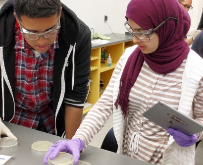 Rashaad Ali and Nusaibah Aldalali  look at a petri dish