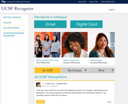 a screen shot of the recognize online page