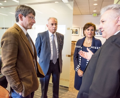 William Lee, the vice chancellor of Research National Autonomous University of Mexico, and three others talk during a visit at the Lawrence Berkeley National Laboratory