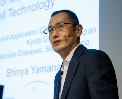 Shinya Yamanaka speaks during the 2013 Breakthrough Prize Symposium
