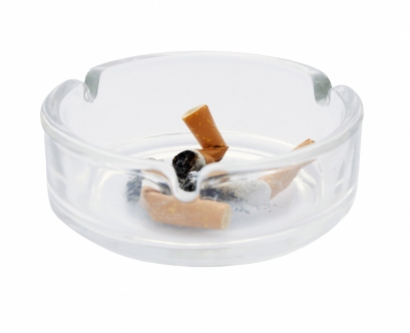 a cigarette in an ash tray