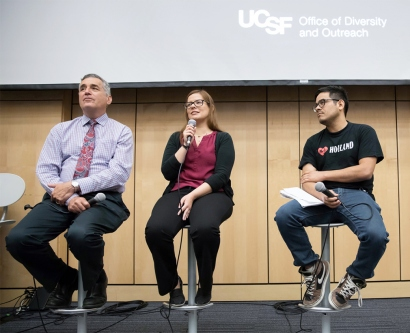 David Wofsy, Ana Cruz, Walter Mancia and Amber Fitzsimmons talk during the Defending DACA forum in Cole Hall at UCSF's Parnassus campus