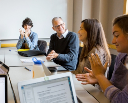 Buck Strewler leads a small-group discussion with medical students