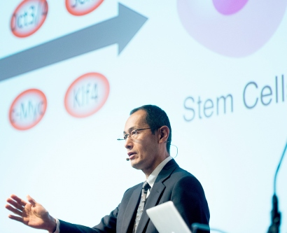 Shinya Yamanaka speaks at the 2017 Breakthrough Prize Symposium at UCSF's Mission Bay campus
