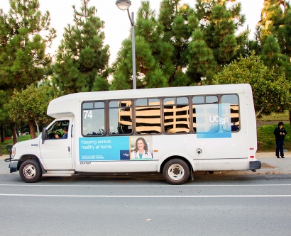 A UCSF shuttle picks up passengers at the Mission Bay campus