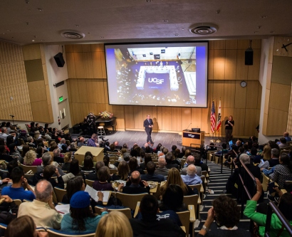 wide shot of a packed Cole Hall auditorium for the 2016 State of the University address