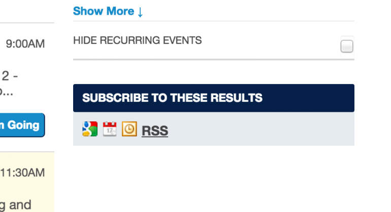 "screenshot of ""Subscribe to These Results"" box on UCSF Events Calendar page"