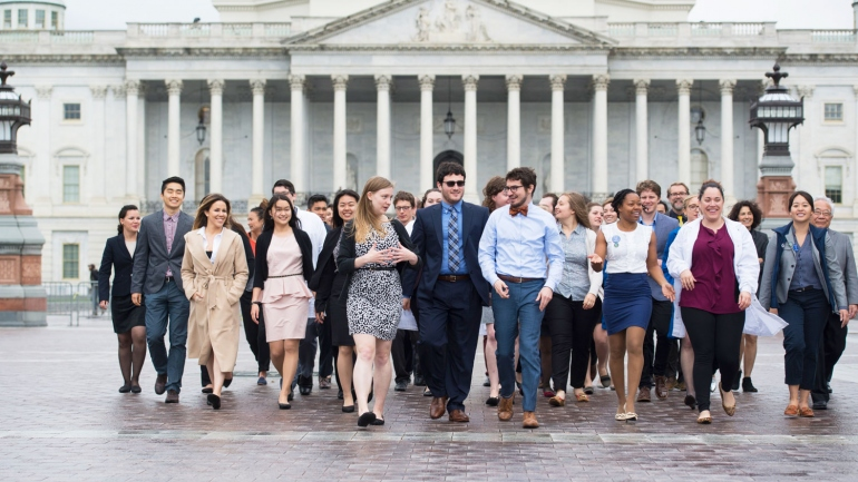 UCSF students walk in front of the US Capitol in Washington, DC