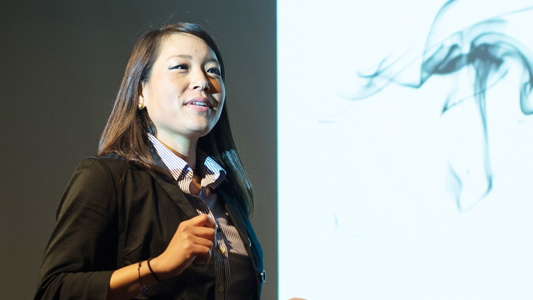Jin Kim presents her research during the Postdoc Slam competition