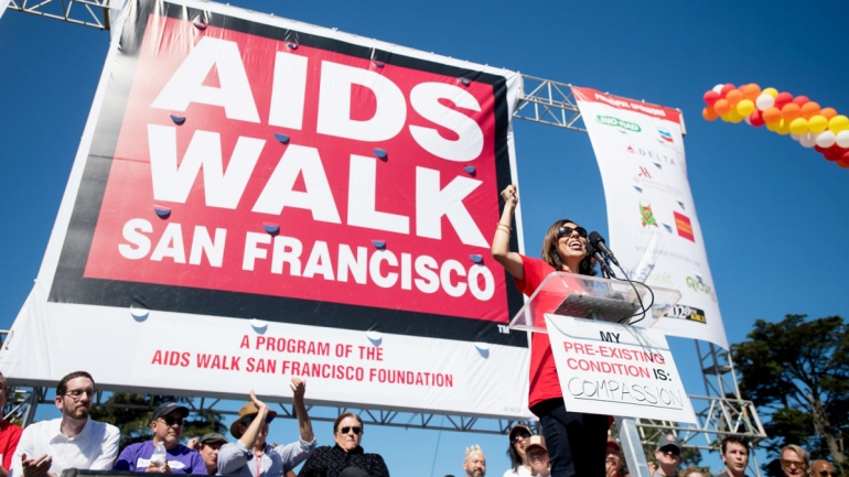 Monica Gandhi speaks during the 2017 AIDS Walk San Francisco event