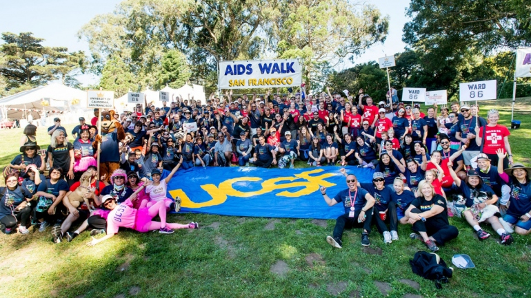 UCSF participants in the 2017 AIDS Walk San Francisco pose for a group photo