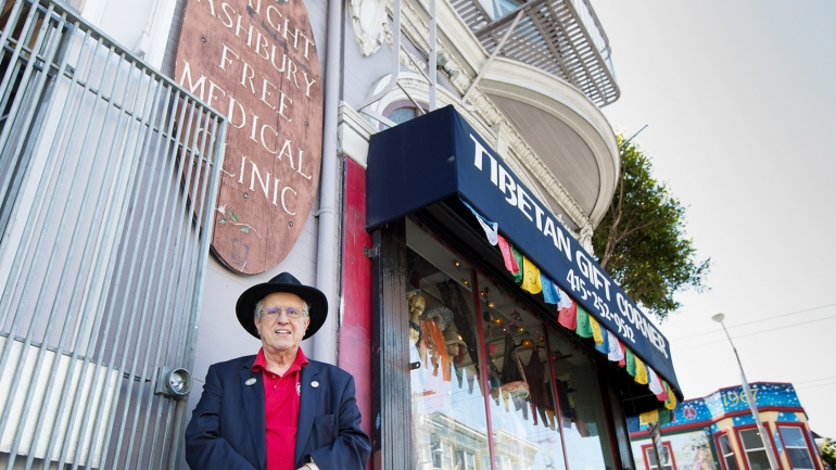 David Smith stands outside the Haight Ashbury Free Clinic in San Francisco