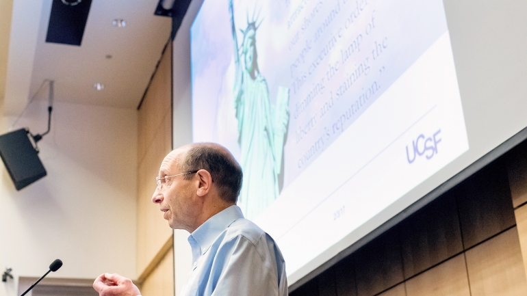 Dan Lowenstein talks during UCSF's immigration town hall on Feb. 3