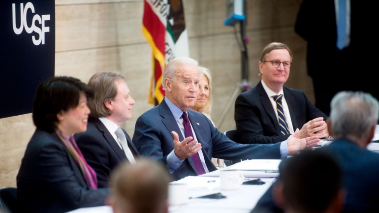 Joe Biden leading a panel on cancer research at UCSF