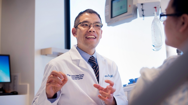 Lawrence Fong, MD, is pictured in UCSF's new Cancer Immunotherapy Clinic