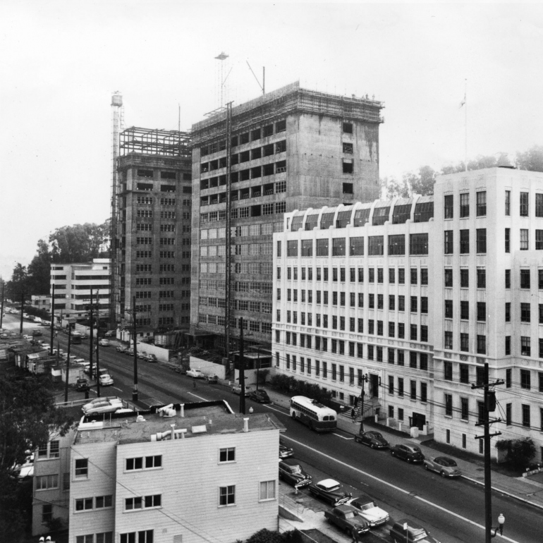 vintage photo of exterior of Moffitt Hospital construction