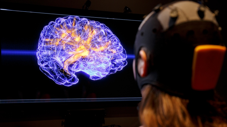 a person looks at an image of a brain whle wearing Oculus headset