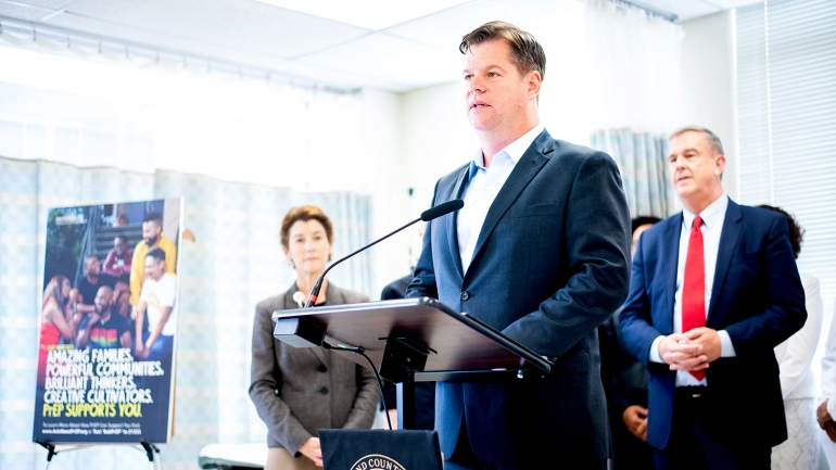 Mark Farrell speaks during a press conference at Zuckerberg San Francisco General Hospital