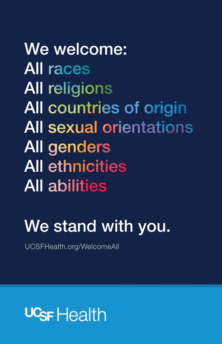 poster art with the message: We welcome:  All races All religions All countries of origin All sexual orientations All genders All ethnicities All abilities We stand with you.