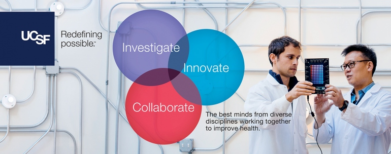 "Two researchers are shown in an advertisement that features Venn diagrams with the words ""Investigate,"" ""Innovate,"" and ""Collaborate."" Other text on the ad reads: The best minds from diverse disciplines working together to improve health."