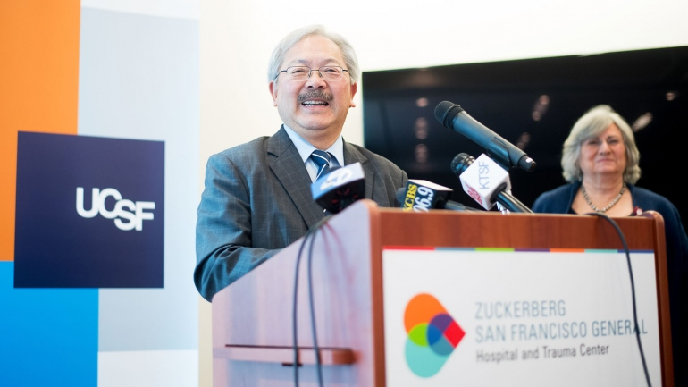 San Francisco Mayor Ed Lee speaks at a podium