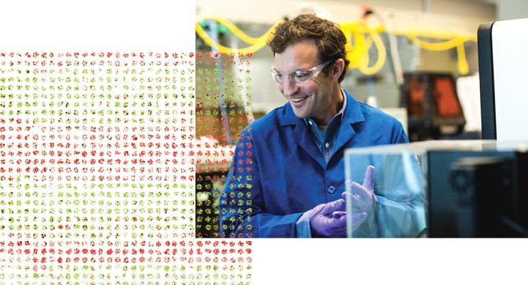 Zev Gartner in lab with superimposed tumor cells