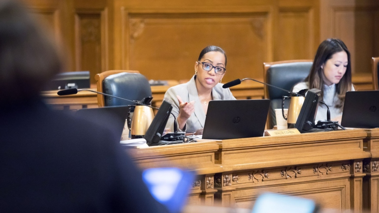 SF Supervisor Malia Cohen speaks during a hearing