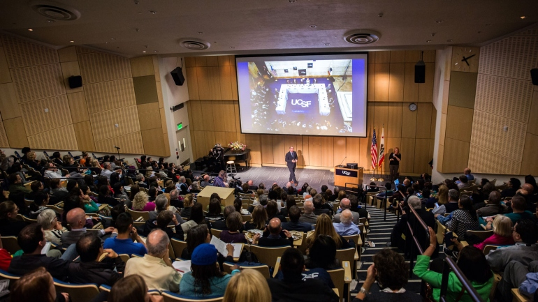 wide shot of Cole Hall during 2016 State of the University Address