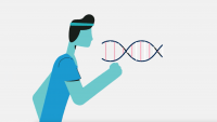 illustration of a runner in front of a DNA strand