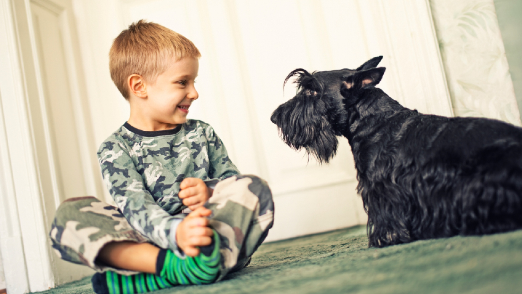 Image result for child with dog in home