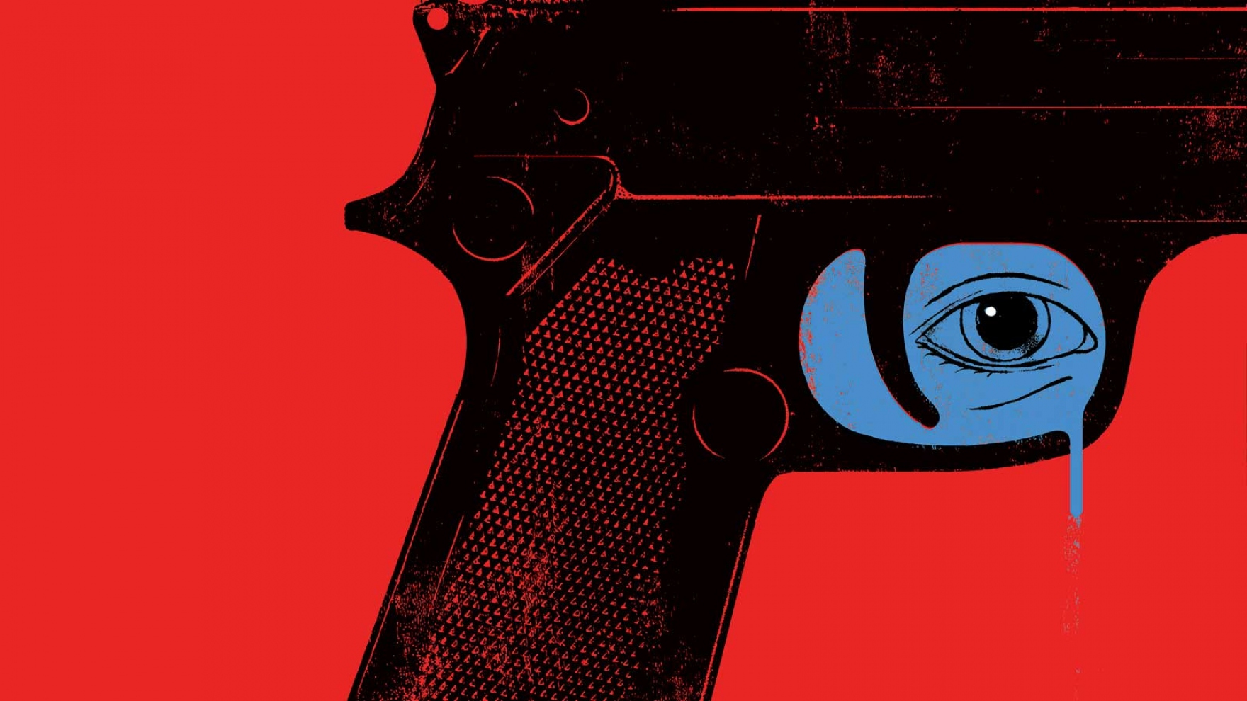 Illustration of a gun with crying eye in the trigger area