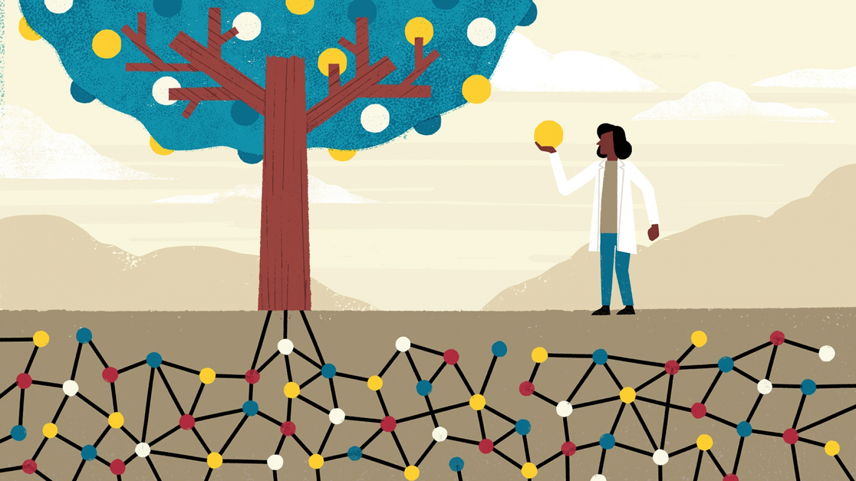 an illustration shows lines feeding up into a tree and a doctor picking a ball off the tree
