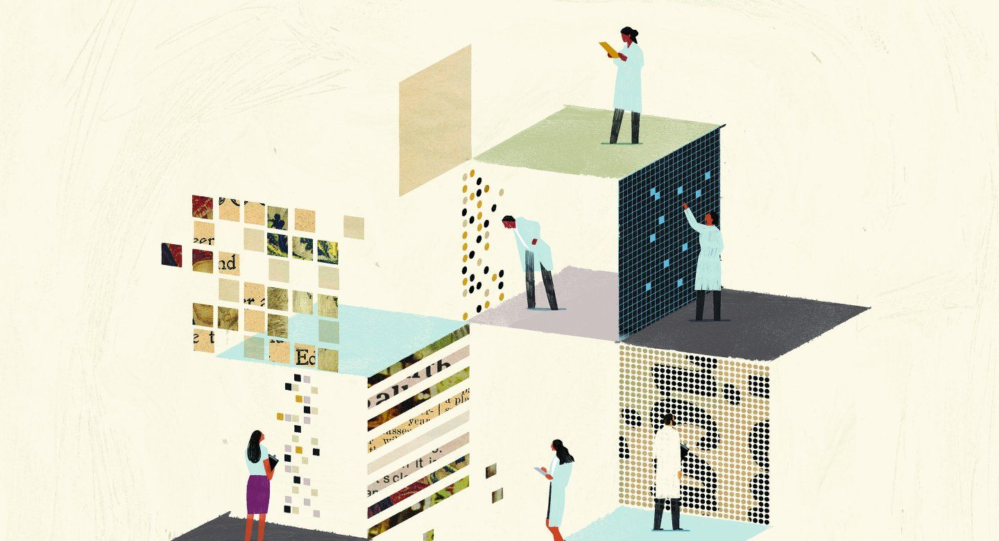 An illustration of scientists combing through a building made of data