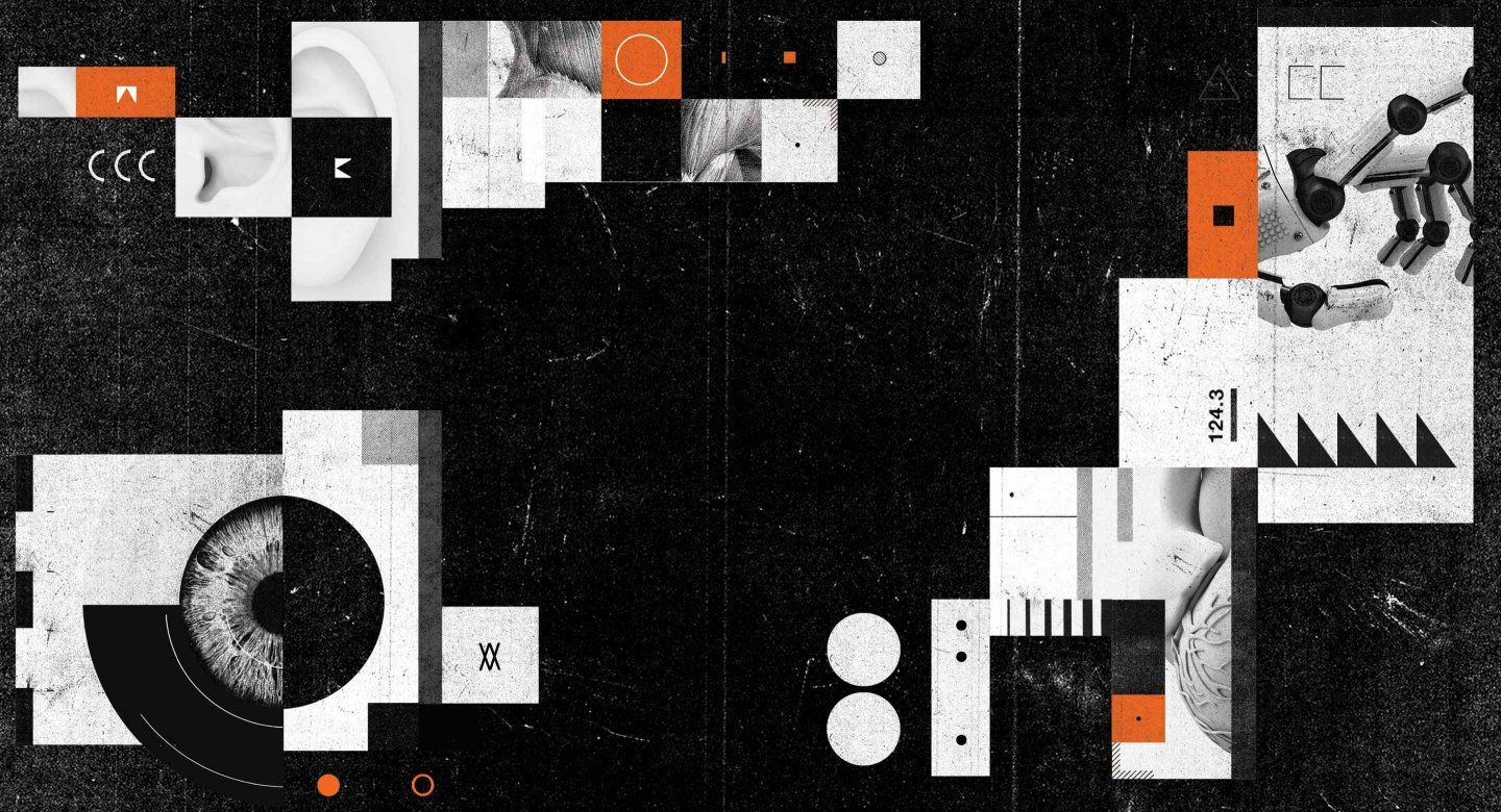 Conceptual illustration of an eye, ear, muscles, internal organ, and robotic hand, overlapping orange, black and white boxes and circles.