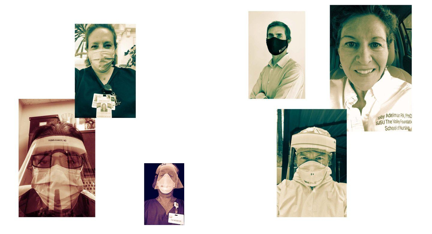 Six photos of UCSF alumni, some in masks and face shields.