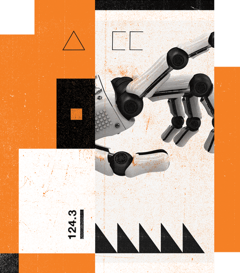 Conceptual Illustration of a robotic hand, overlapping orange, black and white boxes and circles.