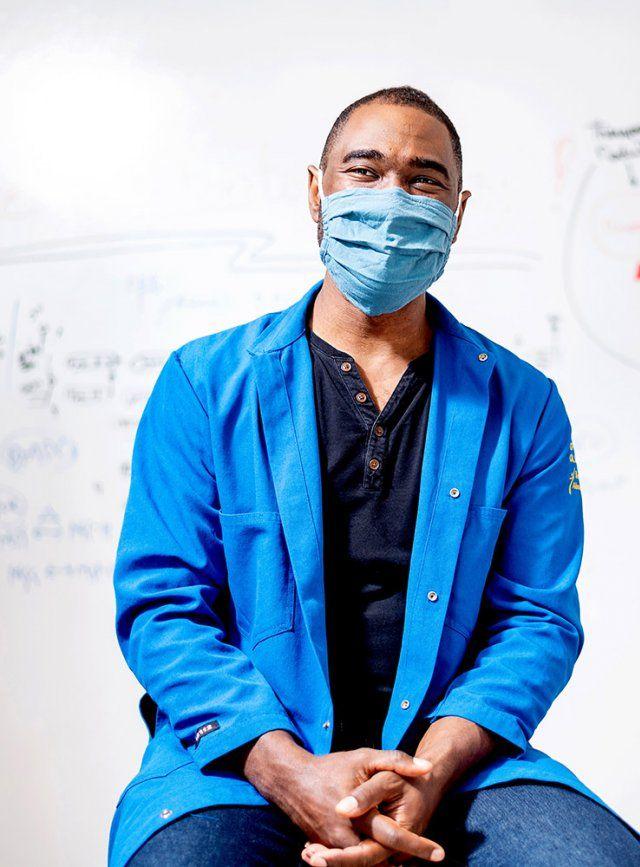 Portrait of Joel Babdor wearing a mask