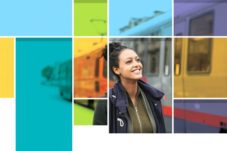 Cover image of the 2016 Economic Impact Report featuring a colorful grid and a smiling woman