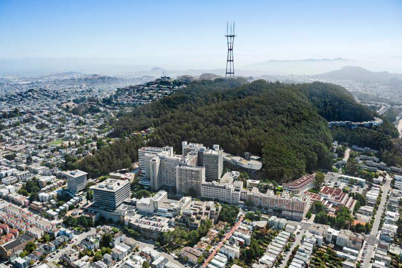 Aerial view of Mount Sutro above the Parnassus Heights campus