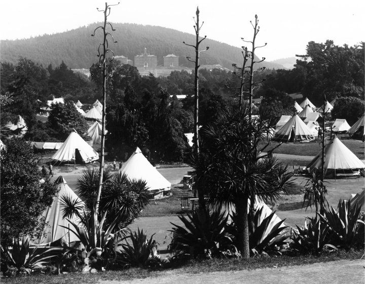 historic photo of tents in Golden Gate Park after 1906 earthquake