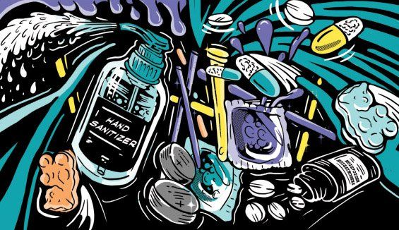 An illustration of common items people call about, such as hand sanitizer, edibles, and pills