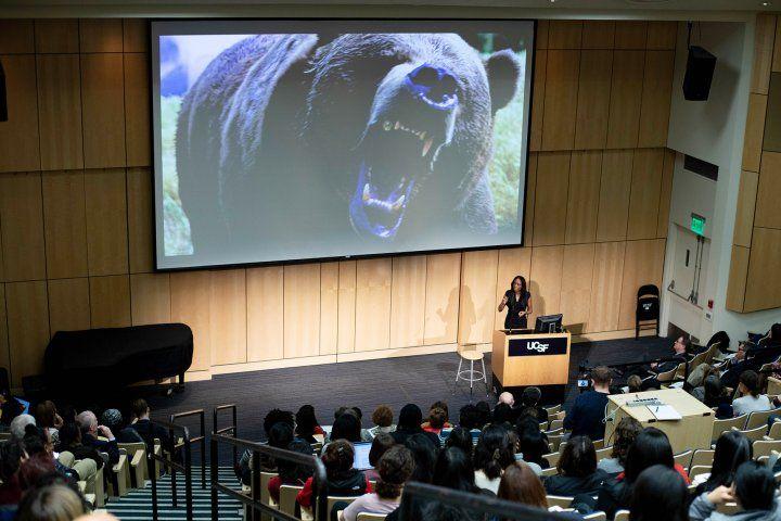 Nadine Burke Harris speaks in Cole Hall at UCSF's Parnassus campus