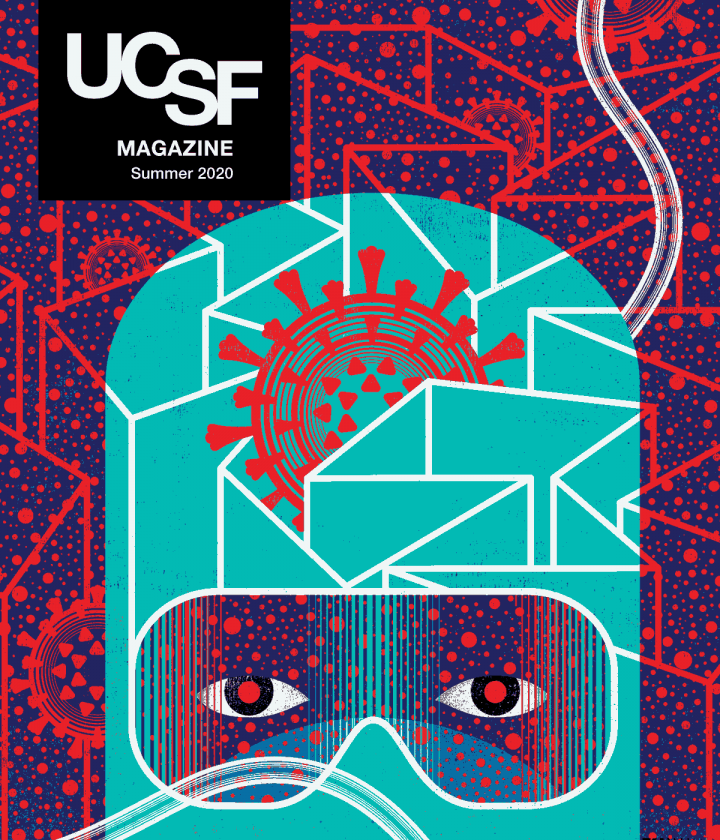 Cover of UCSF Magazine: Summer 2020. Illustration of health care worker in PPE covering head and face, with only the eyes seen through goggles; a coronavirus symbol is in the middle of the head covering; a labyrinth surrounds the person with coronavirus symbols.